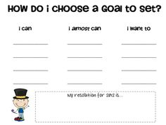 Free editable template for student Goal Setting