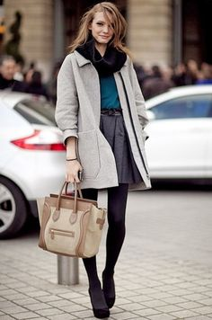 grey skirt, turquoise shirt, black tights, black booties, light grey coat, black infinity scarf, black belt