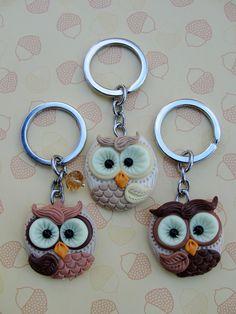 Porte-clé hiboux en fimo fimo owls - keychain