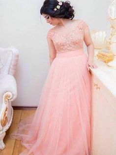 Pink Appliques Lace Tulle Long Evening Dresses 2017 Hot Formal Wedding Party Dress Robe De Soiree Bride Reception Gown Plus Size Ample Supply And Prompt Delivery Bridesmaid Dresses Weddings & Events