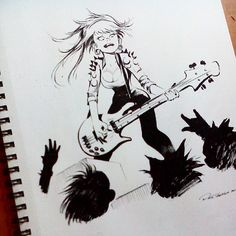 The bassist. She hates sports and 3D movies. She also plays New Super Mario Bros Wii, Galaxy makes her feel dizzy. Thinking to do another artbook called INK & Play, not sure yet. Anyway, my new artbook INK & Punky is now on sale. Just click on my bio's link if interested. #dailysketch #punk #girls