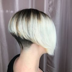 Stacked Bob Hairstyles, Inverted Bob Hairstyles, Popular Hairstyles, Short Hair Dont Care, Short Hair Cuts, Short Hair Styles, Angled Bobs, Shaved Nape, Bleach Blonde Hair