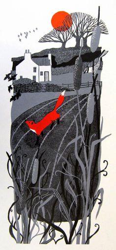 Red fox art by Liz Myhill Linocut Prints, Art Prints, Block Prints, Art Fox, Illustration Arte, Linoprint, Guache, Art Graphique, Printmaking