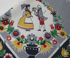 Beautiful Vintage 1950s Printed Cotton Tablecloth with 1700s George and Martha Folk Theme, Birds, 60 x 48 In, Gray, Navy, Red, Yellow, Green by VictorianWardrobe on Etsy