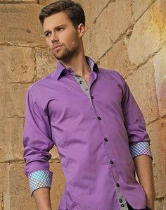 BERTIGO Borini 06 Purple Plaid Design Cotton Men's Dress Shirt Size 5XL NWT #Bertigo #ButtonFront