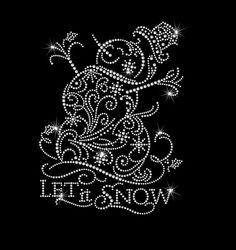 Let It Snow Snowman Snowflake Iron on HotFix Rhinestone Bling Heat Transfer Christmas Mandala, Christmas Rock, Christmas Snowman, Christmas Crafts, Xmas, Dot Art Painting, Mandala Painting, Painting Patterns, Stone Painting