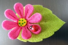 NEW Felt Leaf & Pink Flower Brooch with Ladybird by DAISY FOREVER Christmas gift
