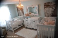 cute boy and girl twin nursery