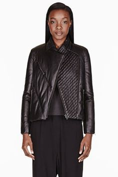 Black Leather Cropped Pitch Puffer Jacket