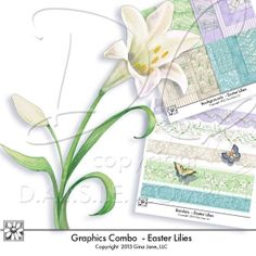 Digital Scrapbook Kit - Easter Lilies, Spring Florals, Butterflies, Borders, and Labels, Tags and Frames by Gina Jane Designs - DAISIE Company