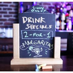 Tabletop Sign with Removable Chalkboard