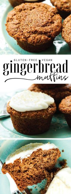 Healthy Gingerbread Muffins {vegan, gluten-free, oil-free} T&T: substituted whole wheat flour and it came out a little dry. Great flavor though! Zucchini Muffins, Muffins Blueberry, Vegan Muffins, Gluten Free Muffins, Healthy Muffins, Gluten Free Baking, Vegan Baking, Vegan Gluten Free, Gluten Free Recipes