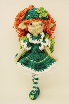 This pattern is for Delaney, the Good Luck Fairy. Fill your heart with the legendary luck and heartfelt blessings of the Emerald Isle with Delaney, the Good Luck Fairy! She will bring you good luck year-round. Do not worry, and keep on smiling through, as good luck will come to you!