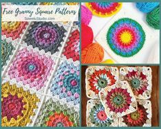 A fabulous roundup of FREE Granny Square Crochet Patterns. Granny Square Crochet Pattern, Crochet Blocks, Afghan Crochet Patterns, Crochet Squares, Crochet Granny, Crochet Motif, Crochet Stitches, Granny Squares, Blanket Crochet