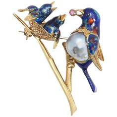 Cartier Enamel Pearl Gold Bird Pin | From a unique collection of vintage brooches at https://www.1stdibs.com/jewelry/brooches/brooches/