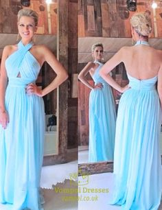vampal.co.uk Offers High Quality Sky Blue Crossed Halter Neck Ruched Bodice…