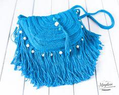 Szydełkowa torebka boho, turkusowa - Mayalove- - Torby na ramię Crop Tops, Boho, Handmade, Etsy, Women, Fashion, Moda, Hand Made, Fashion Styles