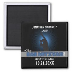 Rock Star Bar Mitzvah Save the Date Magnet, Black
