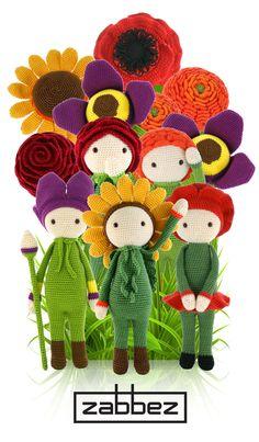 Zabbez flower doll family - crochet and amigurumi patterns