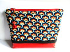 Orange blue red vintage, Toiletry Bag/Cosmetic Bag Large
