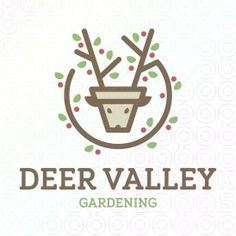 Deer+Valley+logo  #logo, #mark, #environment, #animal, #deer, #antlers, #pot, #pottery, #plant, #natural, #leaves