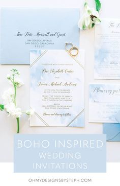 Blue watercolor with gold foil accents, perfect for a romantic destination wedding invitation!