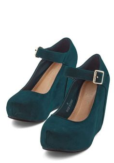 Wonder Your Spell Wedge. Tonights look is nothing short of entrancing, and these teal hidden wedges are your most captivating accessory! #gold #prom #modcloth