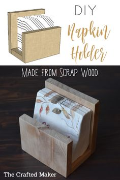 Make this DIY Napkin Holder with scrap wood and a few tools. Add some convenience to your dining table setting in about an hour. DIY Make this DIY Napkin Holder with scrap wood and a few tools. Add some convenience to your dining table setting in about an Small Woodworking Projects, Wood Projects That Sell, Wood Projects For Beginners, Scrap Wood Projects, Diy Pallet Projects, Diy Woodworking, Scrap Wood Crafts, Popular Woodworking, Easy Small Wood Projects