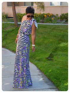 mimi g.: DIY One Shoulder Maxi Dress + Simplicity 2178 Modified
