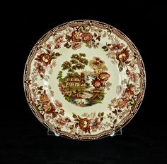 Vintage Royal Staffordshire Dinnerware \ Tonquin\  Hand Painted Transferware Salad Plate by Clarice Cliff & Vintage Brown Polychrome Transferware Toile 8\