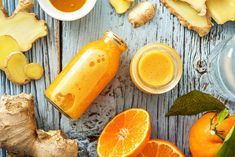 Stave off the sniffles this winter with a homemade ginger shot. And remember, when it comes to ginger shots a little goes a looooooong way. Tangerine Juice, Turmeric Paste, Smoothie Shop, Wellness Shots, Natural Kitchen, Shot Recipes, Nutrition, Blenders, Fresh Ginger