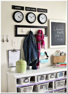 Mudroom Organizing Wall–Grand Central Station Mud room or laundry room organization of shoes or laundry idea. White Paint Colors, White Paints, Grey Paint, Stain Colors, Hallway Shoe Storage, Storage Hooks, Laundry Room Organization, Laundry Shelves, Organization Ideas