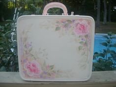 How to Paint HP Roses Suitcases Luggage Shabby Cottage Chic Lesson Tutorial  CD via Etsy.