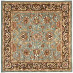 Handmade Heritage Blue/ Brown Wool Rug (8' Square) | Overstock™ Shopping - Great Deals on Safavieh Round/Oval/Square