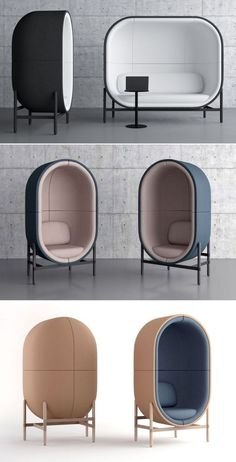 The capsule is stylish office furniture to creates privacy without completely cutting the person off from the office surroundings. Capsule office pod is available in one, two or three-seat versions and there are various color choices for fabric and wooden legs.