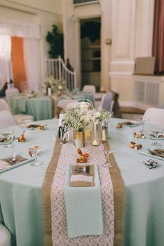 Mint, burlap and lace wedding ideas @weddingchicks