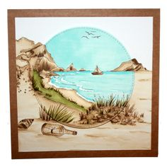 This is the gorgeous new 'Coastal Walks' set designed by Sharon Bennett for Hobby Art. This stunning set is great for building small or large scenes by varying the stamps used. Clear set contains 17 stamps. This stunning card was made by Becki Mayes