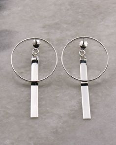 Circle and Bar Double Earring in sterling silver. Butterfly Bar, Simple Butterfly, Double Earrings, Geometric Jewelry, Rose Gold Plates, 18k Gold, Plating, Jewellery, Sterling Silver