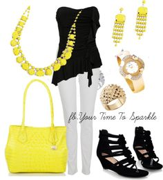 """yellow and black"" by dlcate ❤ liked on Polyvore"