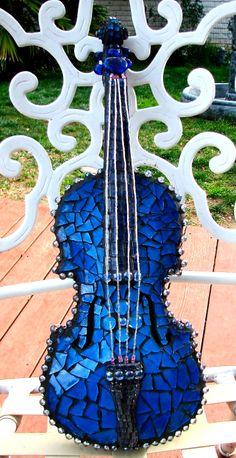 Baby Blue. Mosaic violin. www.maryellenbazil.com