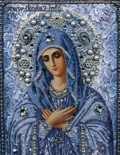 Our Lady of Tenderness, Russian embroidered and beaded icon