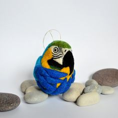 Blue and Gold Macaw needle felted parrot / bird wool ornament by Linda Brike