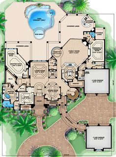 First floor plan of florida luxury mediterranean house for Luxury patio home floor plans