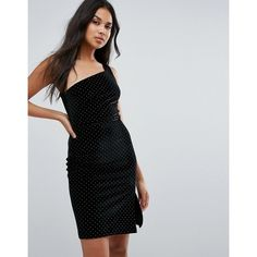 Outrageous Fortune One Shoulder Mini Bodycon Dress With Stud Detail ($51) ❤ liked on Polyvore featuring dresses, black, cocktail party dress, one shoulder dress, bodycon dress, fancy party dresses and mini dress