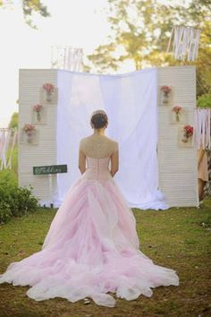 The layered chiffon skirt extended to a chapel-length train. Wedding Gallery, Wedding Photos, Bridal Gowns, Wedding Gowns, Pink Ombre Cake, Pink Palette, Wedding Inspiration, Wedding Ideas, Pink Gowns