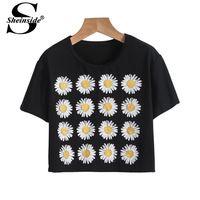 Sheinside as mulheres roupas de verão topos sensuais moda cortadas Casual 2014 BrND preto de manga curta girassóis impresso T-Shirt