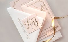 Lindsey + Bradley's Elegant Pink and Gold Foil Wedding Invitations | Design and Photo Credits: Daily Sip Studios