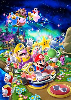 Super Mario and the gang really know how to party! Join the fun with this great Mario Party 9 poster. Power Up with the rest of our excellent selection of Super Mario Bros posters! Need Poster Mounts. Super Mario Party, Super Mario Bros Games, Super Mario World, Super Mario Brothers, Mario Kart, Super Smash Bros, Mario Und Luigi, Yoshi, Ludo