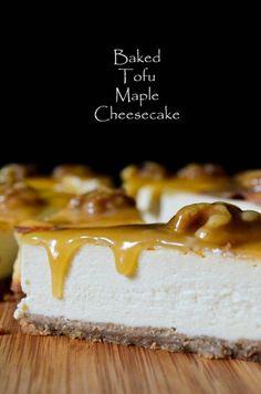 Baked Tofu Maple Cheesecake (eggs, tofu, cookie crust)