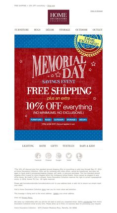 Home Decorators Collection - Memorial Day Email Exclusive: FREE SHIPPING + Extra 10% OFF Everything!